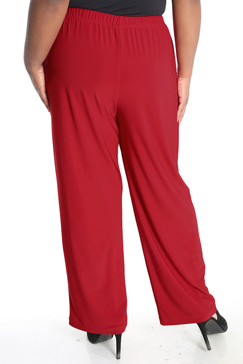 Vikki Vi Jersey Red Petite Pull-On Pant