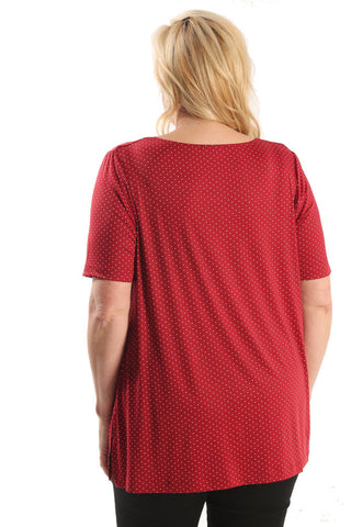 Vikki Vi Jersey Red Pin Dot Swing Tunic