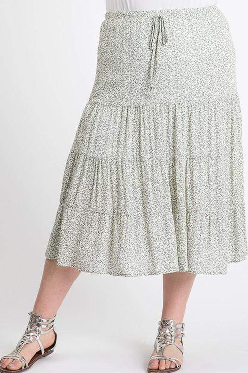 Skirts Janette Plus Sage and Cream Skirt