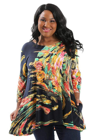 Allegra in a print tunic
