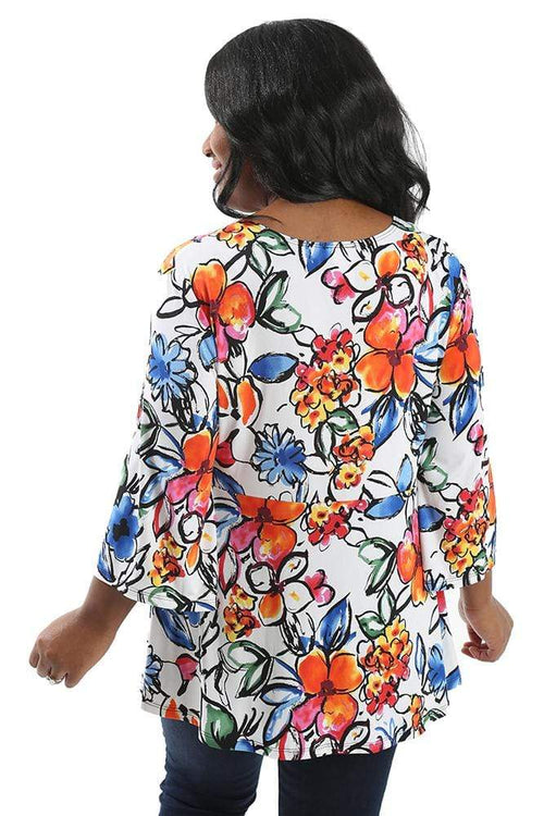 Tops Caribe Flor A-Line Tunic