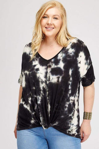 black and white tie dyed tee