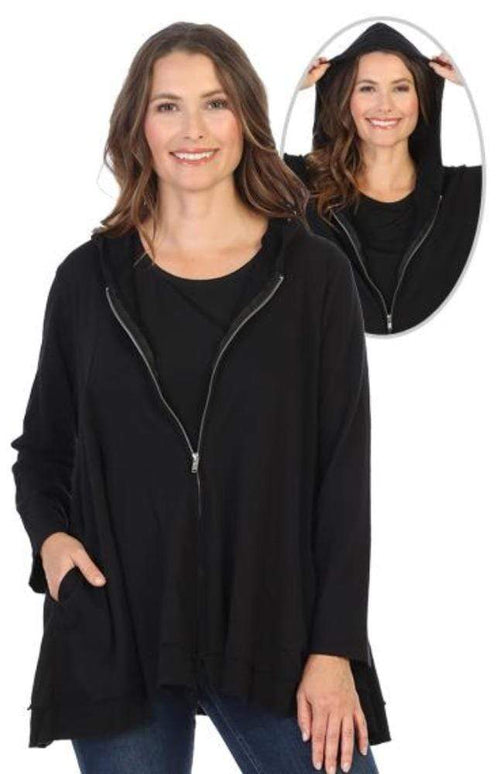 Tops Jess and Jane Black French Terry Mineral Wash Hoodie