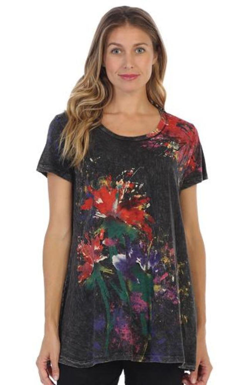 Tops Jess and Jane Floral Poem Short Sleeve Mineral Wash Slub Tunic