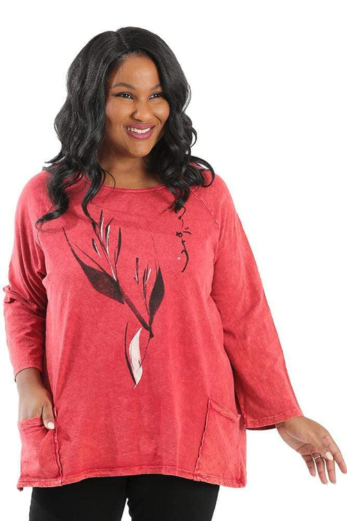 Tops Jess and Jane Mineral Wash Ink Print Pocket Tunic