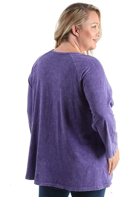 Tops Jess and Jane Mineral Wash Violets Pocket Tunic
