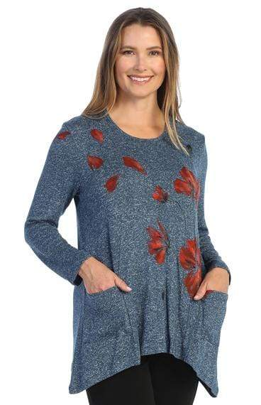 Tops Jess and Jane Poppies Sweater Knit Pocket Tunic