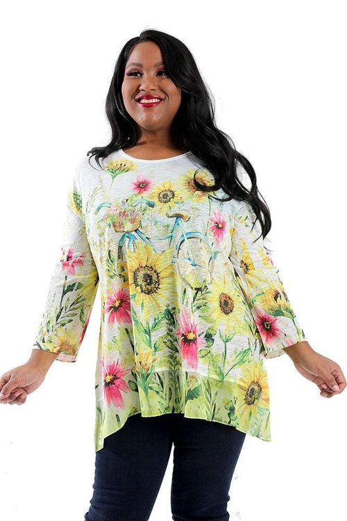 Tops Jess and Jane Sunny Ride Contrast Trim Tunic