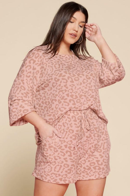 Tops Oddi Pink Animal Print Lounge Short Set