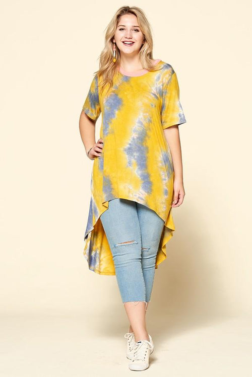 Tops Oddi Yellow and Grey Tye-Dye Tunic
