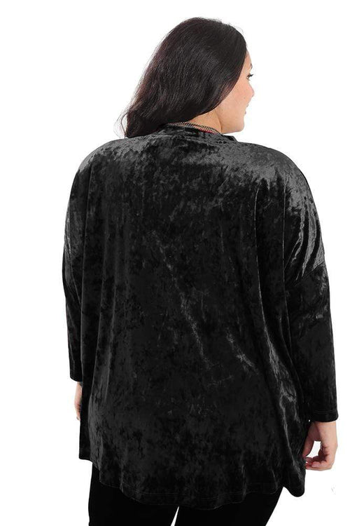 Tops Vikki Vi Black Crushed Velvet Swing Top