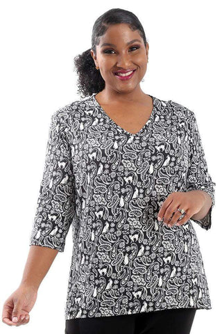 Allegra in a black and white print top