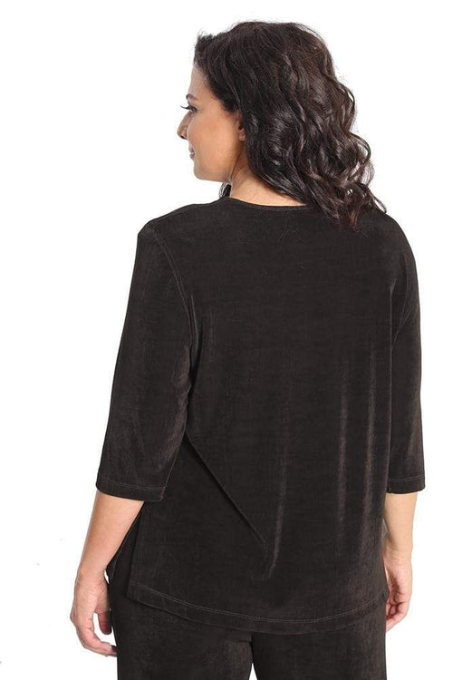 Tops Vikki Vi Classic Chocolate 3/4 Sleeve Top