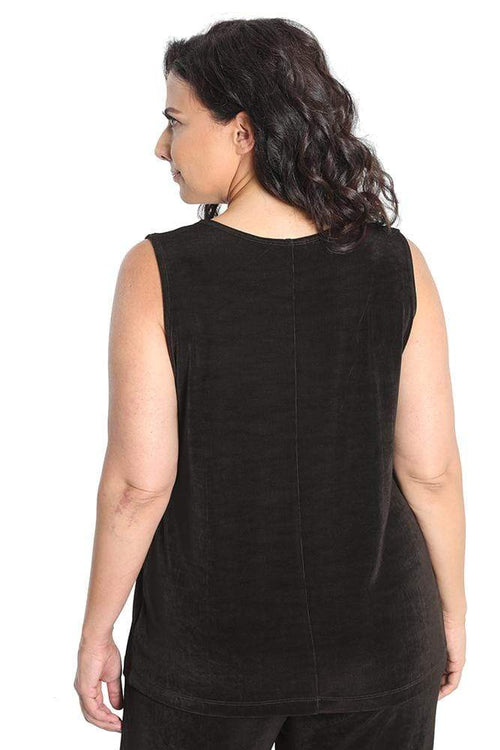 Tops Vikki Vi Classic Chocolate Sleeveless Shell