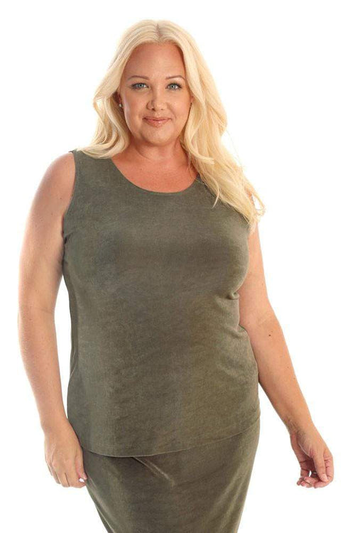 Tops Vikki Vi Classic Moss Green Sleeveless Shell