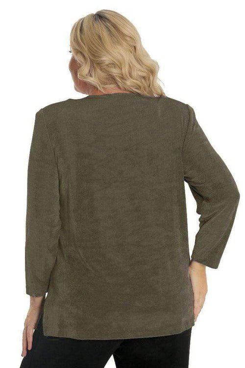 Tops Vikki Vi Classic Moss Long Sleeve Tunic