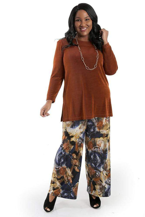 Tops Vikki Vi Classic Rust Long Sleeve Tunic