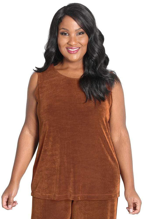 Tops Vikki Vi Classic Rust Sleeveless Shell