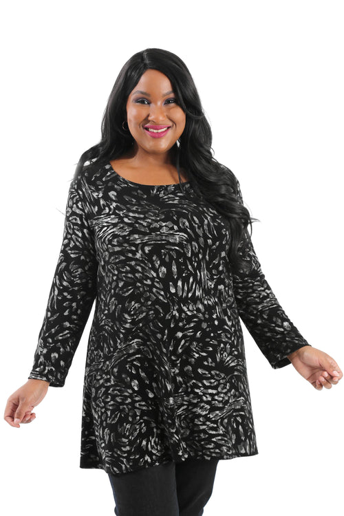 Tops Vikki Vi Classic Silver Animal Bias Cut Tunic