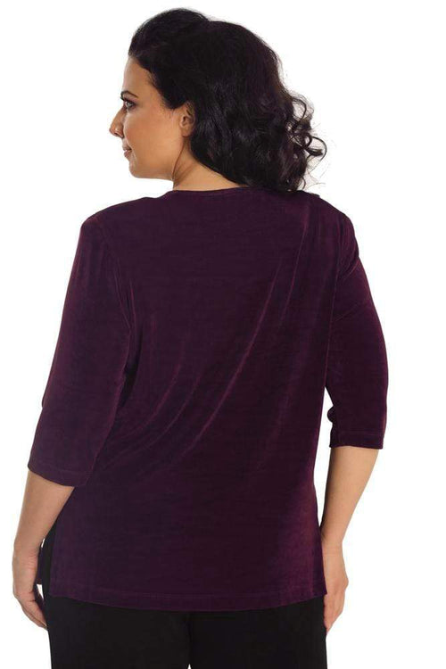 Tops Vikki Vi Classic Sugar Plum 3/4 Sleeve Top