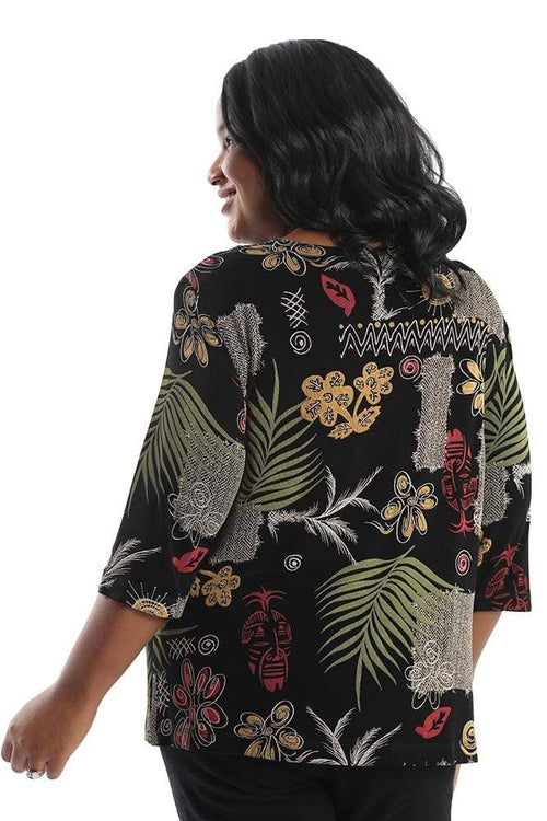 Tops Vikki Vi Classic Tribal Mask 3/4 Sleeve Top