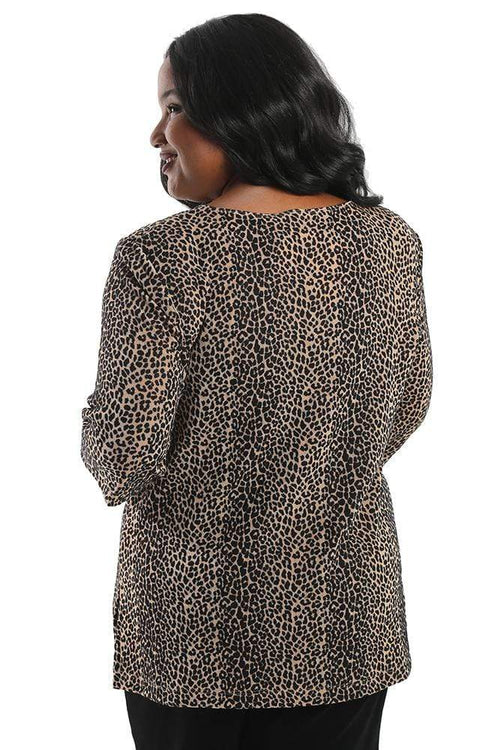 Tops Vikki Vi Classic Velvet Burnout Animal V-Neck 3/4 Sleeve Tunic