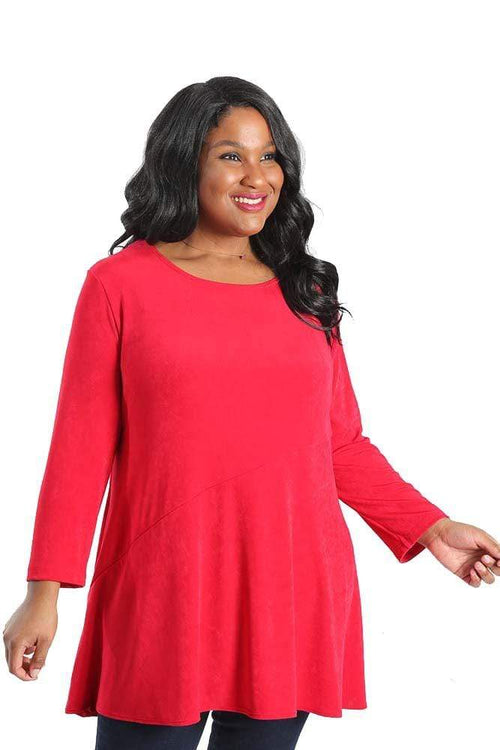 Tops Vikki Vi Classic Watermelon Red Bias Cut Tunic