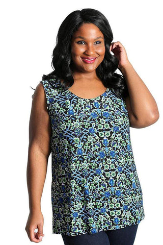 Allegra in a blue and green print sleeveless shell