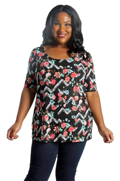Tops Vikki Vi Jersey Floral Chevron Short Sleeve Top