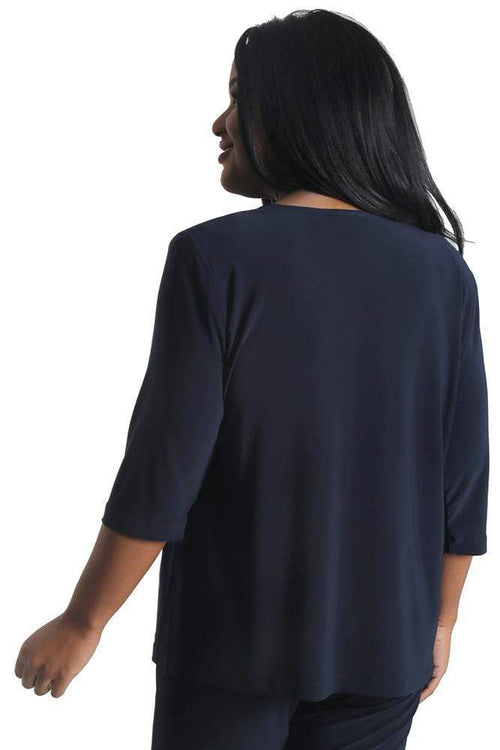 Tops Vikki Vi Jersey Navy 3/4 Sleeve Top