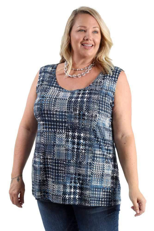 Tops Vikki Vi Jersey Plaid Tank