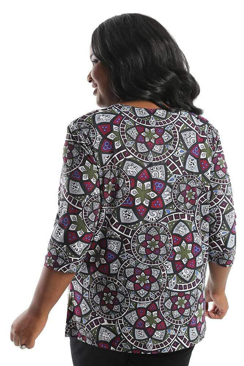 Tops Vikki Vi Jersey Stained Glass 3/4 Sleeve Top