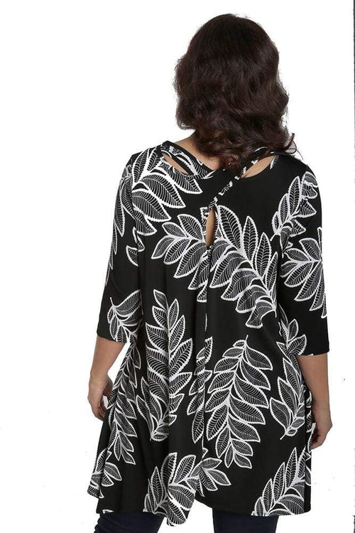 Tops Vikki Vi Jersey Tribal Botanical Fashion Tunic