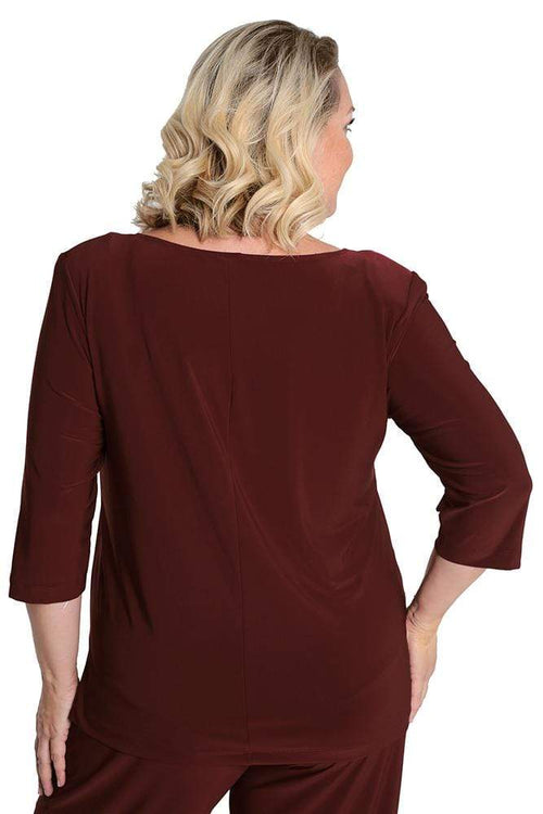 Tops Vikki Vi Jersey Vino Deep Scoop Neck Top