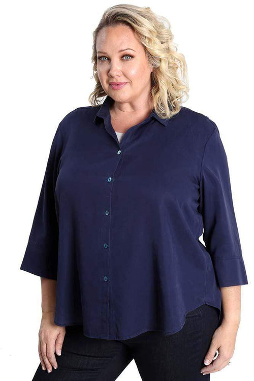 Tops Vikki Vi Navy Tencel Blouse