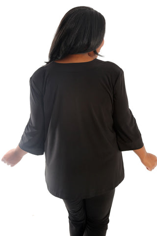 Vikki Vi Jersey Black Shawl Collar Jacket