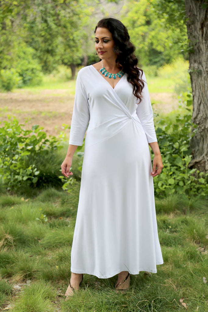Vikki Vi Jersey White 3/4 Sleeve Faux Wrap Maxi Dress