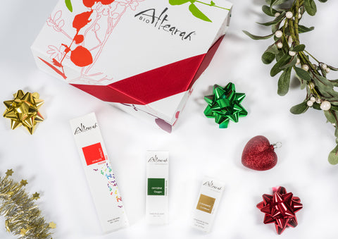 Altearah Christmas Boxed Set: Red Vitality Body Oil, Green Oxygen Perfume & Gold Confidence Concentrate