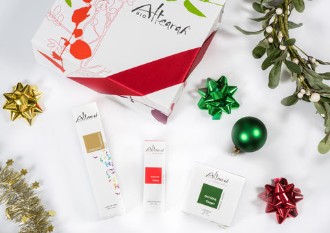 Altearah Christmas Boxed Set: Gold Confidence Body Oil, Red Vitality Perfume & Emerald Oxygen Concentrate