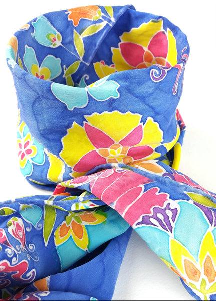 Hand-painted Silk Scarf - Floral Border