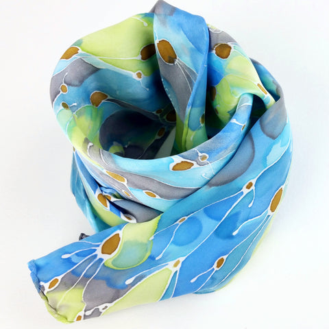 Hand-painted Silk Scarf - Sea Weed