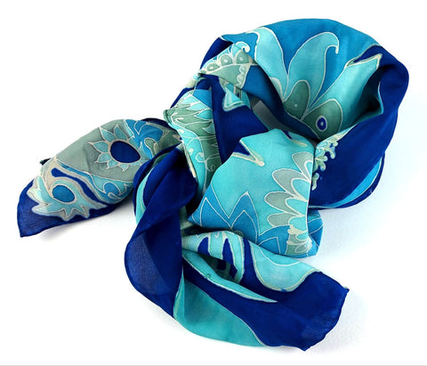 Hand-painted Silk Scarf - Blue Jean Paisley