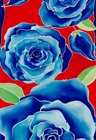 detail of blue roses scarf by rio claro studio