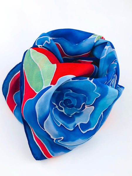 handpainted blue rose scarf by rio claro studio