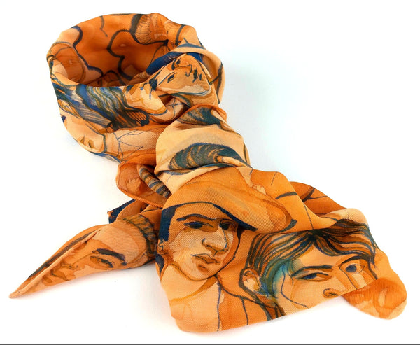 Faces of Industry – Hand-painted Silk Scarf