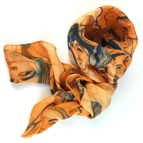 Hand-painted Silk Scarf - Faces of Industry