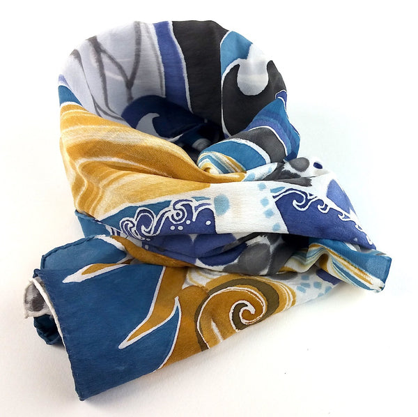 Hand-painted Silk Scarf - Nami