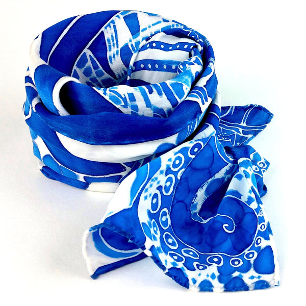 Hand-painted Silk Scarf - Neo Delft