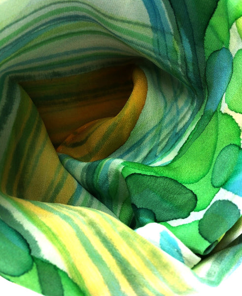 Hand-painted Silk Scarf - River Grass