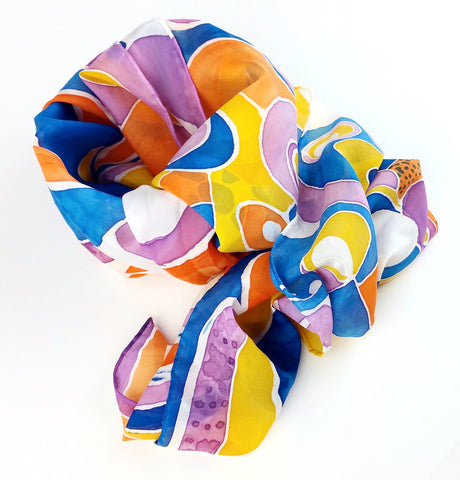 Hand-painted Silk Scarf - Tangerine Pop